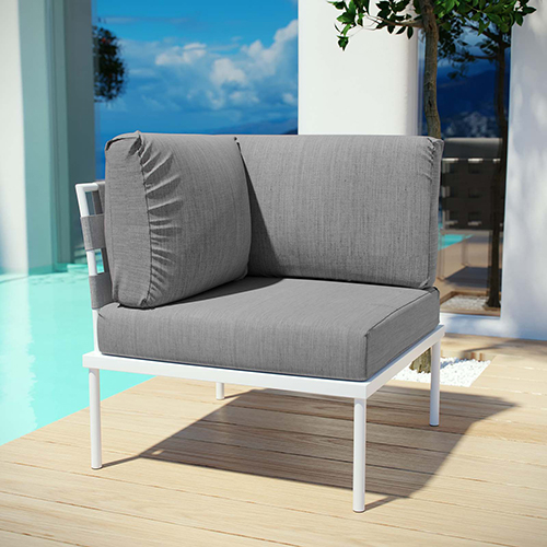 Harmony Outdoor Patio Aluminum Corner Sofa in White Gray