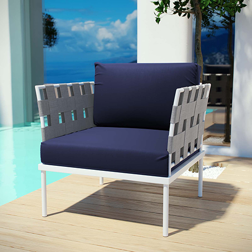 Modway Furniture Harmony Outdoor Patio Aluminum Armchair in White Navy