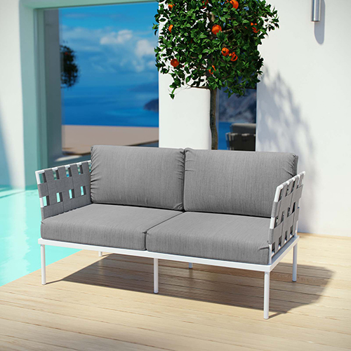 Modway Furniture Harmony Outdoor Patio Aluminum Loveseat in White Gray
