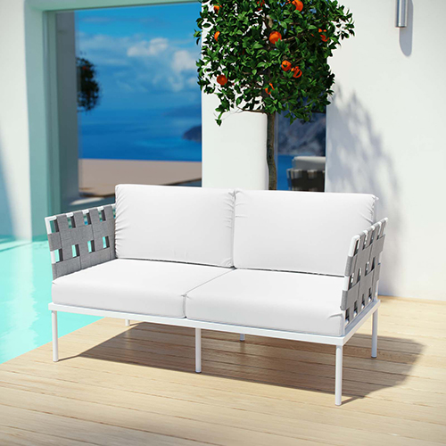 Harmony Outdoor Patio Aluminum Loveseat in White White