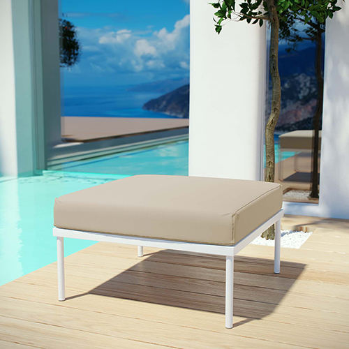 Modway Furniture Harmony Outdoor Patio Aluminum Ottoman in White Beige