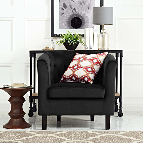 Prospect Velvet Armchair in Black