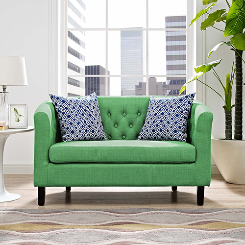 Modway Furniture Prospect Upholstered Fabric Loveseat In Kelly Green