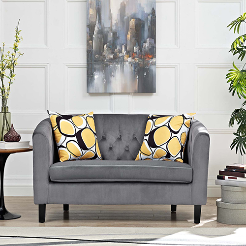 Modway Furniture Prospect Velvet Loveseat in Gray