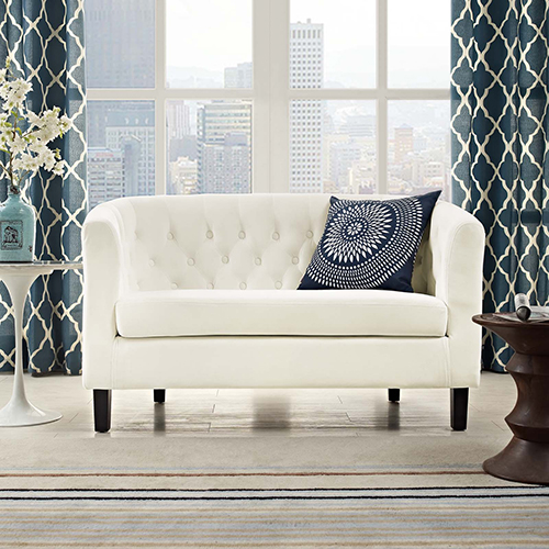 Prospect Velvet Loveseat in Ivory