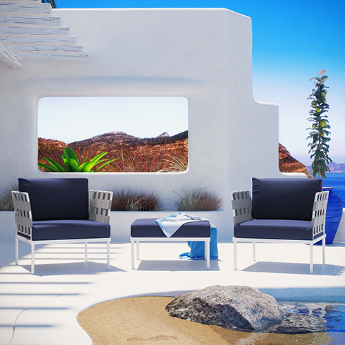 Modway Furniture Harmony 3 Piece Outdoor Patio Aluminum Set in White Navy