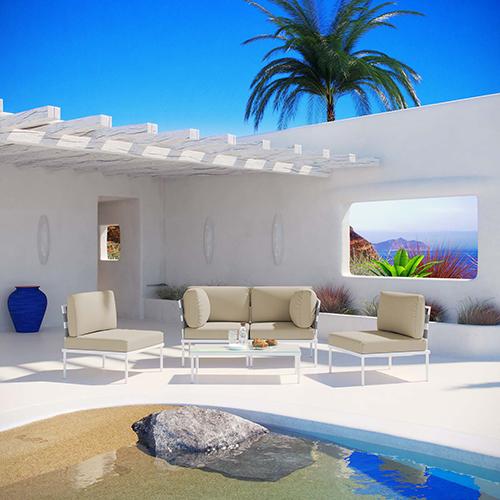 Harmony 5 Piece Outdoor Patio Aluminum Sectional Sofa Set in White Beige