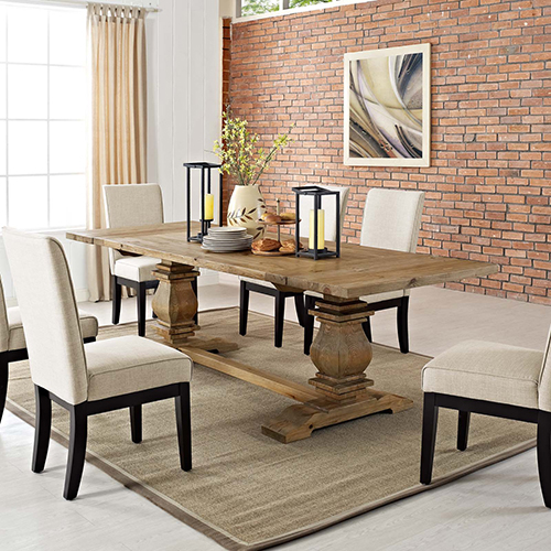 Modway Furniture Rise Extendable Wood Dining Table in Brown