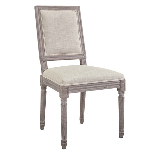 Court Vintage French Upholstered Fabric Dining Side Chair
