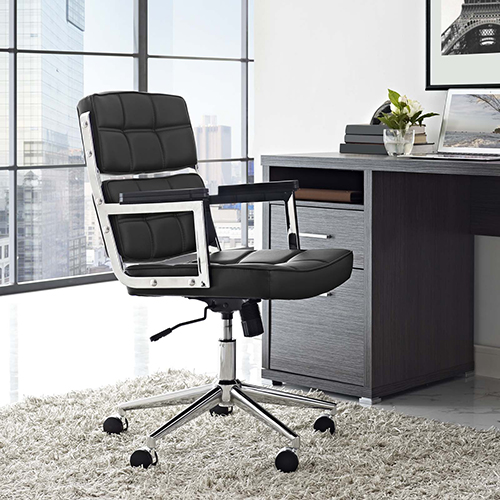 Modway Furniture Portray Highback Upholstered Vinyl Office Chair in Black