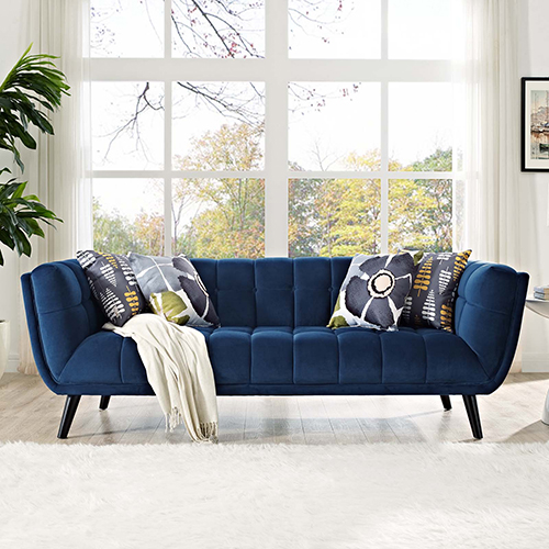 Modway Furniture Bestow Velvet Sofa in Navy