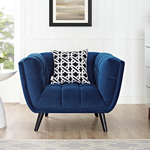 Modway Furniture Bestow Velvet Armchair In Navy Eei 2733 Nav Bellacor