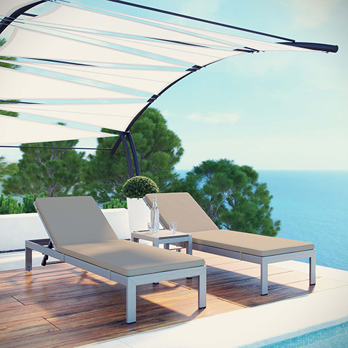 Shore 3 Piece Outdoor Patio Aluminum Chaise with Cushions in Silver Beige