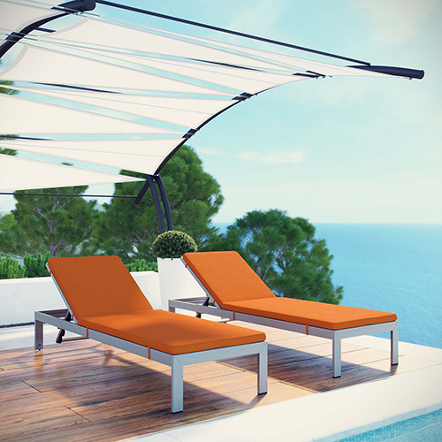 Modway Furniture Shore Chaise with Cushions Outdoor Patio Aluminum Set of 2 in Silver Orange