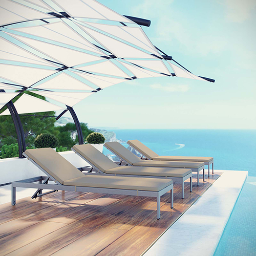 Shore Chaise with Cushions Outdoor Patio Aluminum Set of 4 in Silver Beige