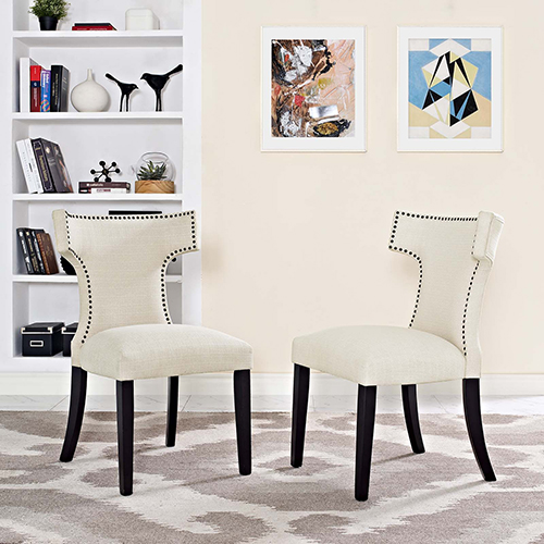 Modway Furniture Curve Dining Side Chair Fabric Set of 2 in Beige