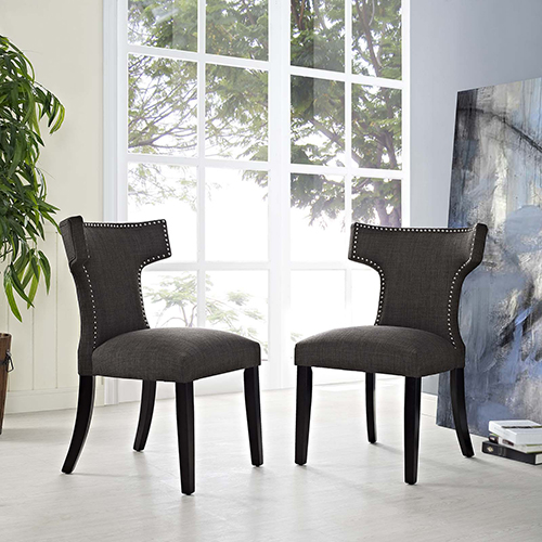 Curve Dining Side Chair Fabric Set of 2 in Brown