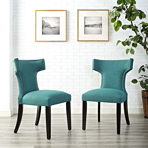 Curve Dining Side Chair Fabric Set of 2 in Teal