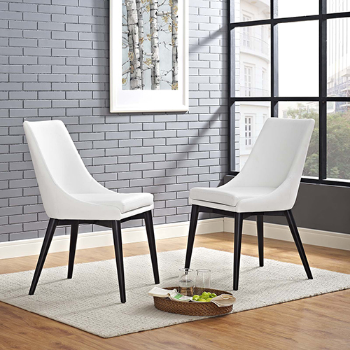 Modway Furniture Viscount Dining Side Chair Vinyl Set of 2 in White
