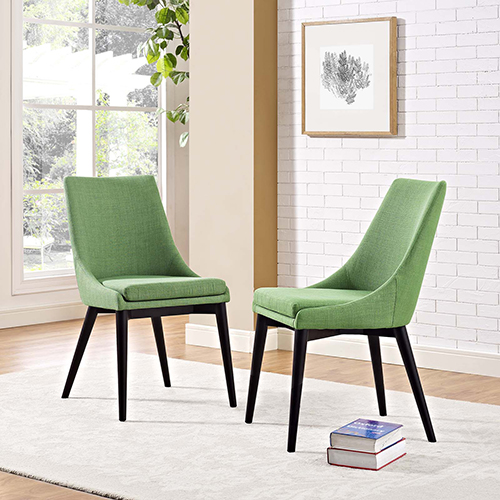 Viscount Dining Side Chair Fabric Set of 2 in Kelly Green