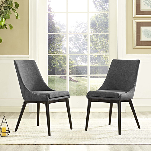Viscount Dining Side Chair Fabric Set of 2 in Gray