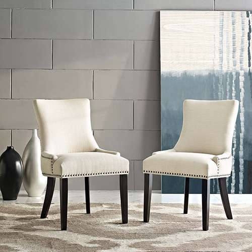 Marquis Dining Side Chair Fabric Set of 2 in Beige