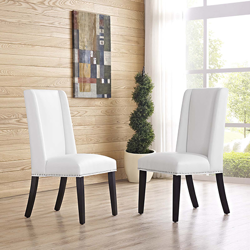 Baron Dining Chair Vinyl Set of 2 in White