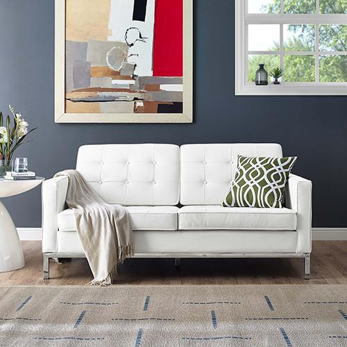 Loft Leather Loveseat in White