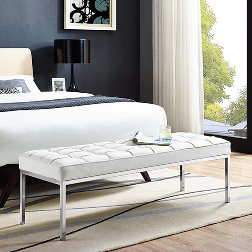 Modway Furniture Loft Leather Bench in White
