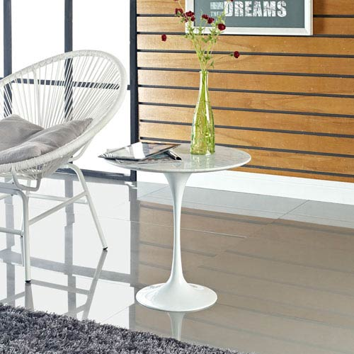 Lippa 20-inch Marble Side Table in White