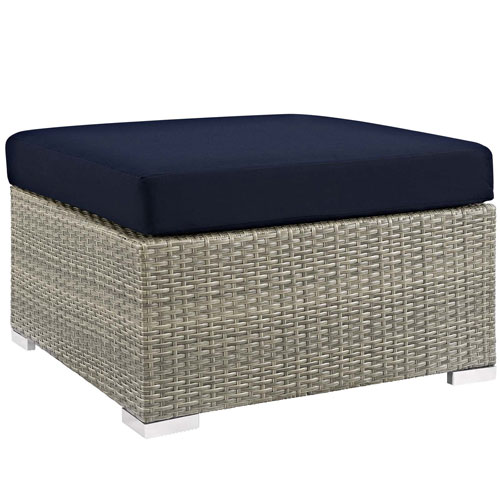 Repose Sunbrella Fabric Outdoor Patio Ottoman