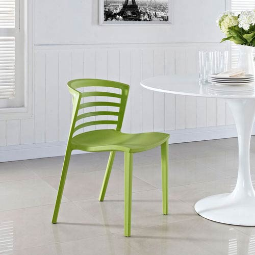 Curvy Dining Side Chair in Green