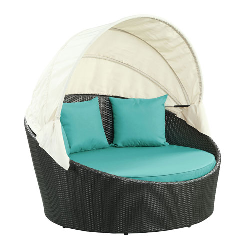 Siesta Canopy Espresso and Turquoise Outdoor Patio Daybed