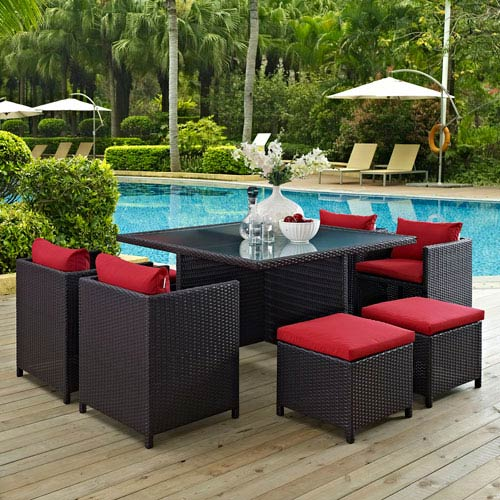 Modway Furniture Inverse 9 Piece Outdoor Patio Dining Set in Espresso Red