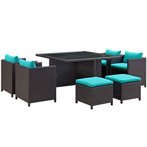 Inverse 9 Piece Espresso and Turquoise Outdoor Patio Dining Set