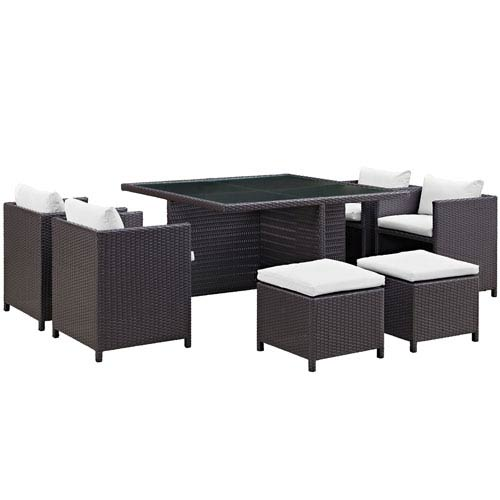 Inverse 9 Piece Espresso And White Outdoor Patio Dining Set