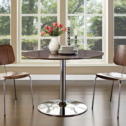 Modway Furniture Rostrum Wood Top Dining Table in Walnut