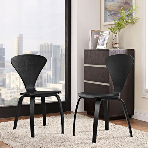 Modway Furniture Vortex Dining Chairs Set Of 2 In Black Eei 899 Blk