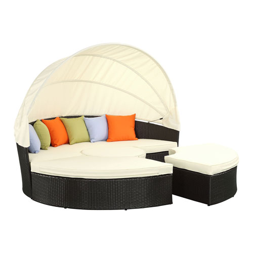 Quest Canopy Espresso and White Outdoor Patio Daybed