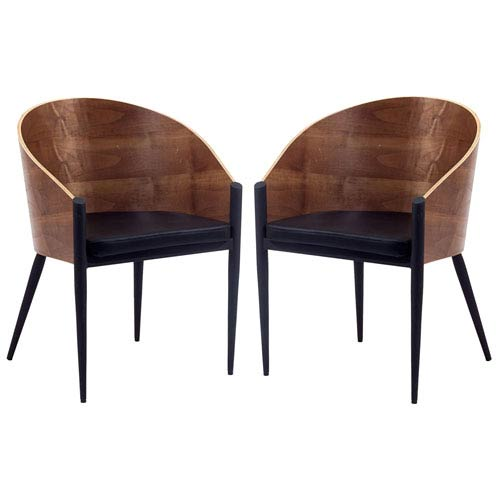 Modway Furniture Cooper Dining Chairs Set of Two in Walnut