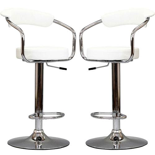 Diner Bar Stools Set of Two in White