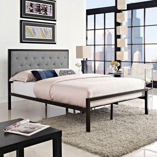 Modway Furniture Mia Full Fabric Bed in Brown Gray