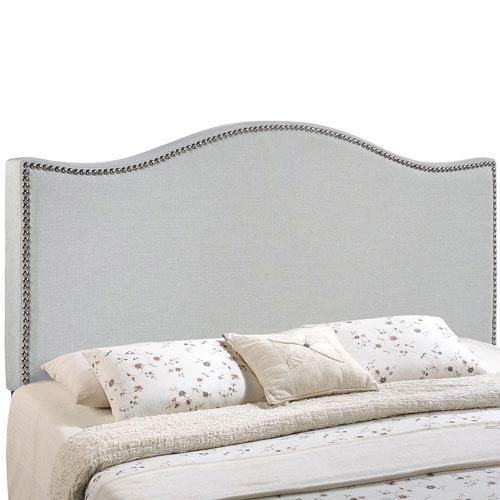 Curl King Nailhead Upholstered Headboard in Sky Gray