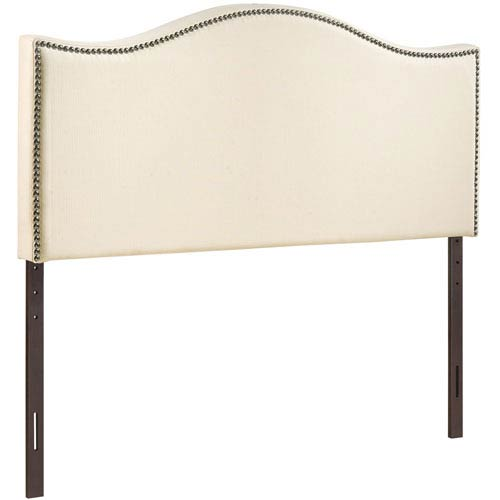 Curl King Nailhead Upholstered Headboard in Ivory
