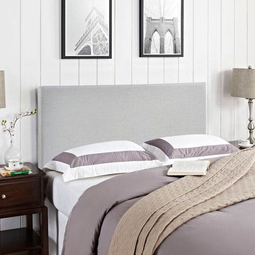 Modway Furniture Region Queen Upholstered Headboard in Sky Gray