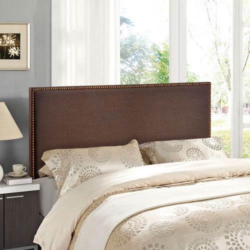 Modway Furniture Region Queen Nailhead Upholstered Headboard in Dark Brown