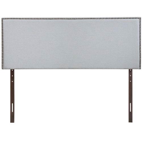 Region King Nailhead Upholstered Headboard in Sky Gray