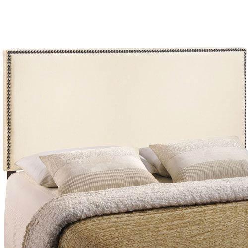 Modway Furniture Region King Nailhead Upholstered Headboard in Ivory