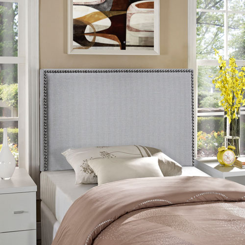 Region Twin Nailhead Upholstered Headboard in Sky Gray