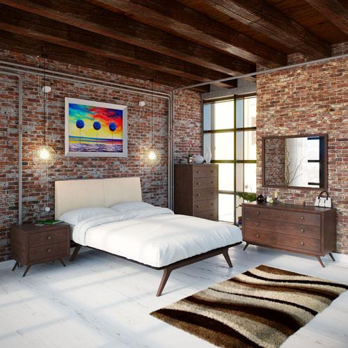 Modway Furniture Tracy 5 Piece Queen Bedroom Set in Cappuccino Beige